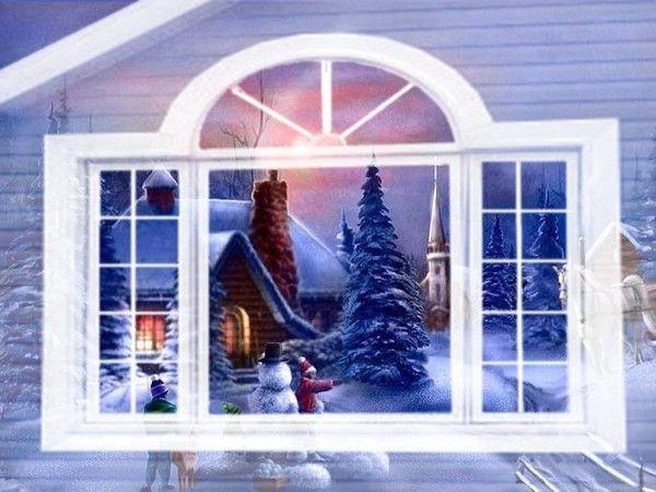 Gif fenetre neige sapin jardin for Fenetre hiver