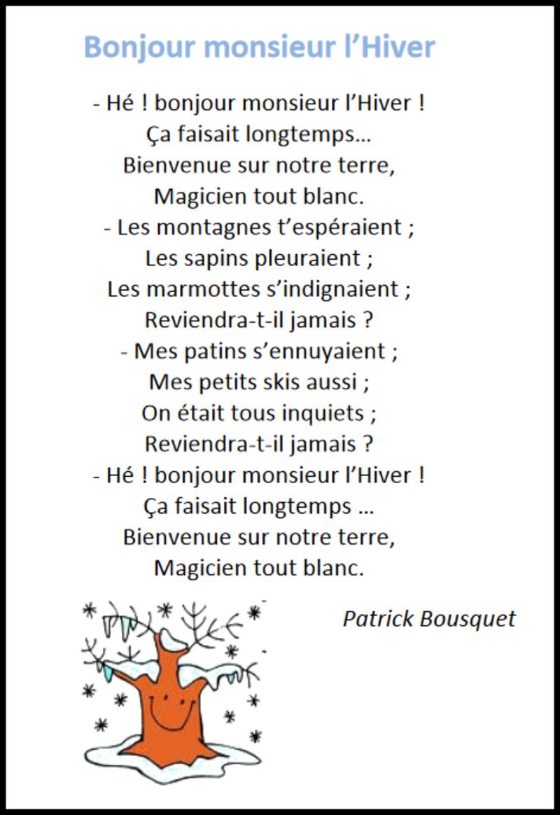 Bonjour Monsieur L Hiver Poésie