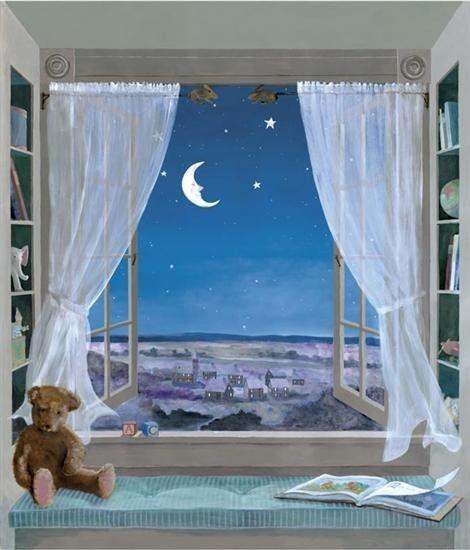 gif fenetre nuit avec lune