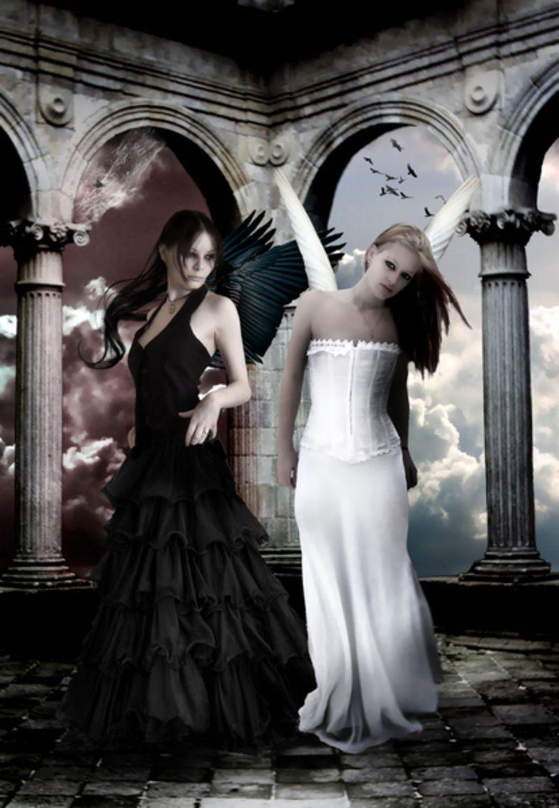 Gif ange noir ange blanc - Dessin ange noir et blanc ...