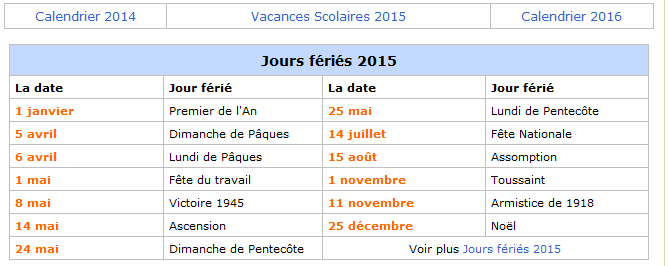 calendrier 2015 avec jours fériés