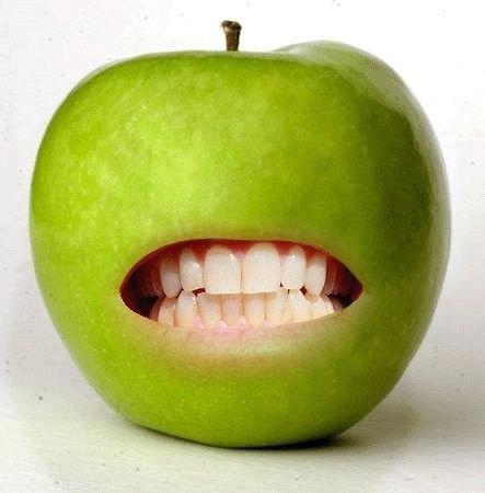 gif image marrante pomme avec dents. Black Bedroom Furniture Sets. Home Design Ideas