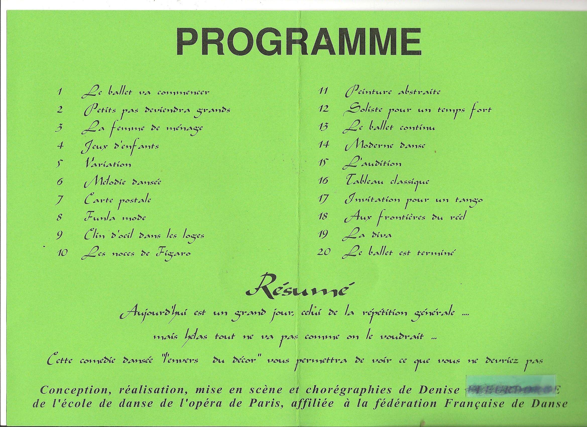 exemples de programme de danse